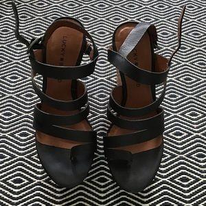 Lucky Brand Black Wedge Heels 7